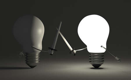 duel: Glowing light bulb fighting duel against switched off one with swords on dark gray textured background