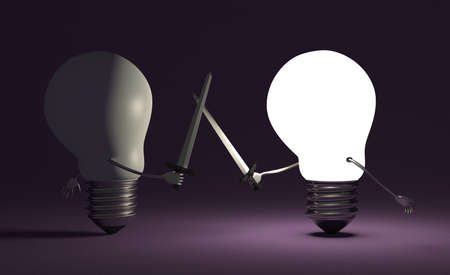 Glowing light bulb fighting duel against switched off one with swords on dark violet textured background photo