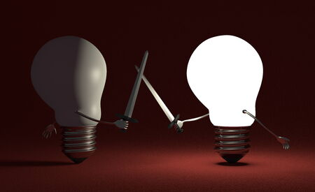 Glowing light bulb fighting duel against switched off one with swords on dark red textured background photo