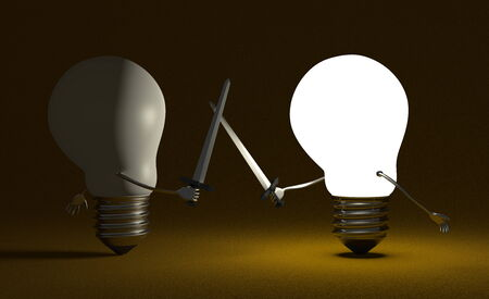 Glowing light bulb fighting duel against switched off one with swords on dark yellow textured background photo