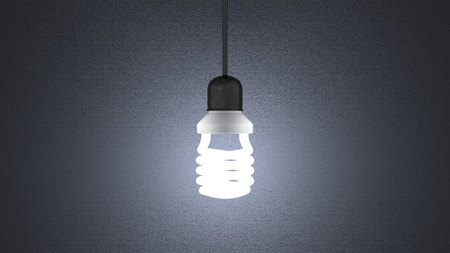 enchufe de luz: Espiral al rojo vivo bombilla en el z�calo de la l�mpara que cuelga en fondo texturizado gris oscuro