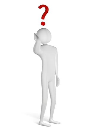 3d man scratching his head, red question mark above him, isolated on white photo