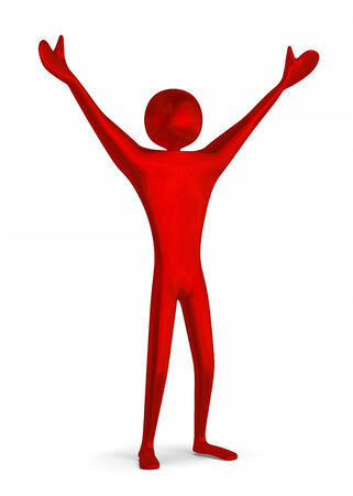 Reflective shiny red triumphant 3d man raising his arms isolated on white