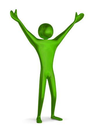 triumphant: Reflective shiny green triumphant 3d man raising his arms isolated on white Stock Photo