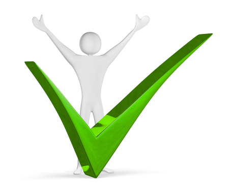 triumphant: Triumphant 3d man raising his arms near big green tick isolated on white Stock Photo