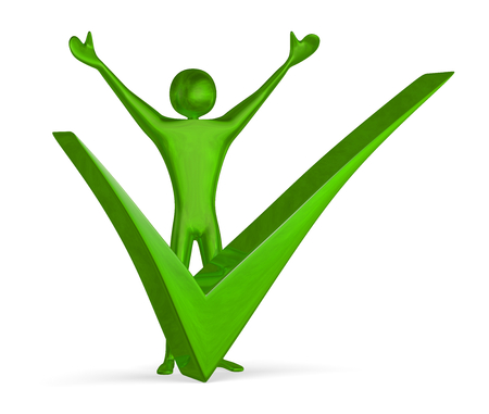 triumphant: Green reflective shiny triumphant 3d man raising his arms near big tick isolated on white Stock Photo