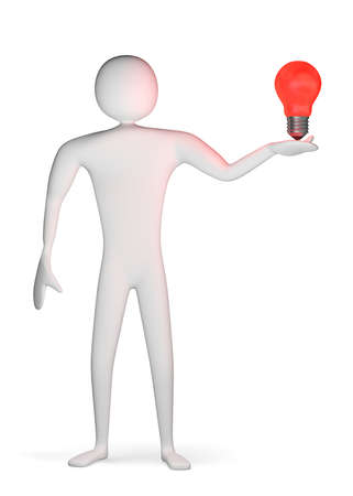 innovator: 3d man with glowing red light bulb on his palm isolated on white
