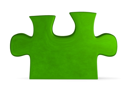 Green reflective puzzle piece standing isolated on white photo