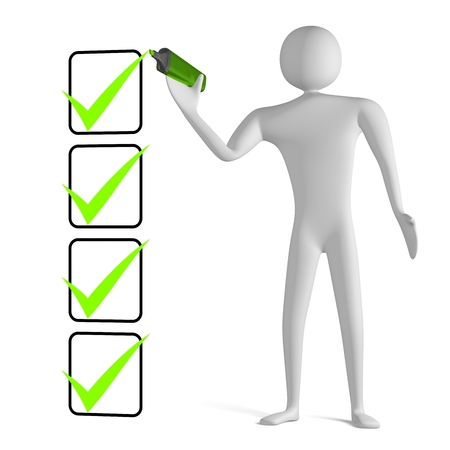 3d man with marker drawing green tick in filled checklist isolated on white photo