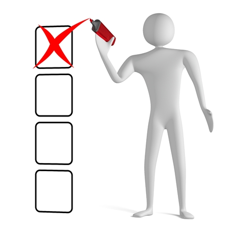 3d man with marker drawing red cross mark in empty checklist isolated on white photo