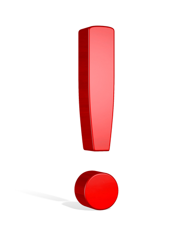 Red reflective 3d exclamation mark isolated on white photo