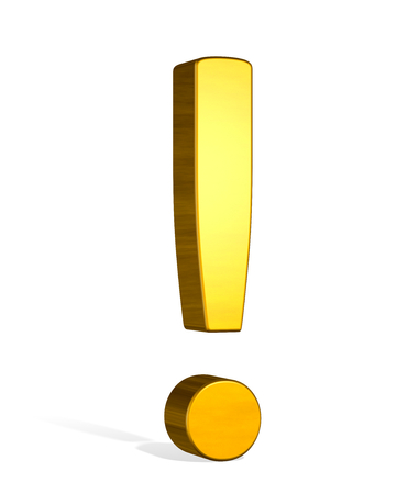 interjection: Golden reflective 3d exclamation mark isolated on white