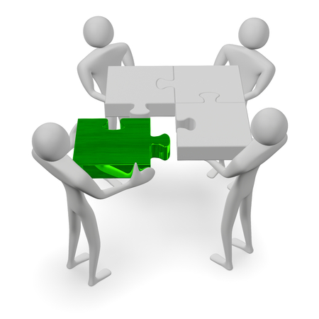3d people holding grey puzzle and green missing piece isolated on white photo