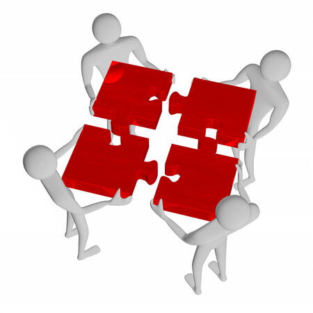 assembling: 3d people assembling red puzzle isolated on white Stock Photo