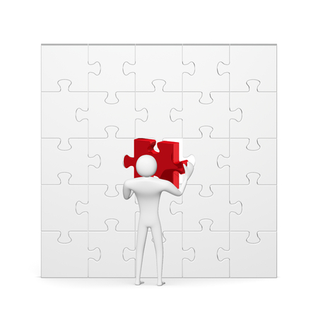 3d man inserting red missing piece in grey vertical puzzle isolated on white front view photo