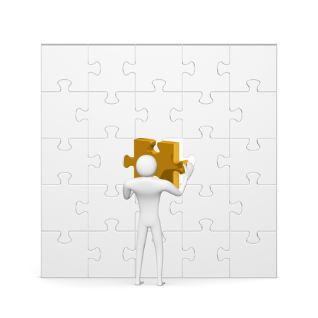 inserting: 3d man inserting golden missing piece in grey vertical puzzle isolated on white front view
