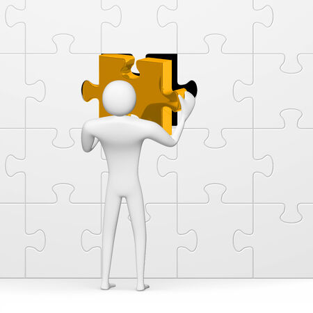 3d man inserting golden missing piece in grey vertical puzzle isolated on white close-up photo