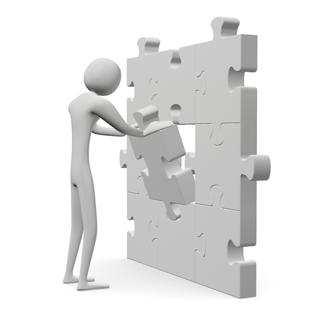 inserting: 3d man inserting missing piece in grey vertical puzzle isolated on white