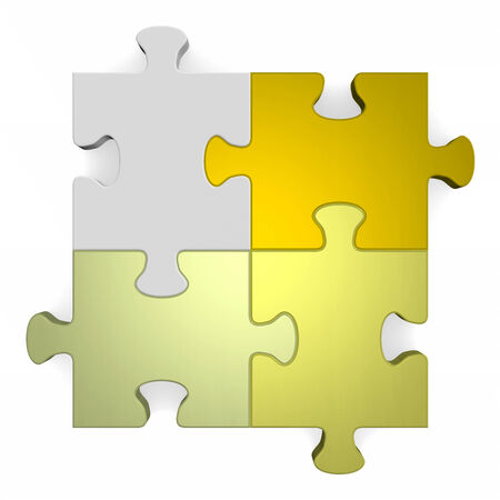 3d puzzle, shades of golden to grey, isolated on white photo