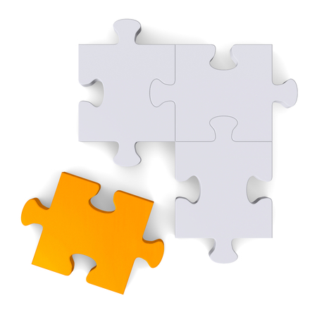 3d grey puzzle with orange missing piece isolated on white, top view photo