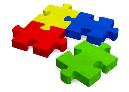 missing piece: Rompecabezas multicolor 3D con verde pieza que falta aislados en blanco, vista en perspectiva