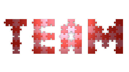 assembled: 3d team text assembled of red and pink puzzle pieces