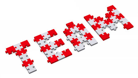 assembled: 3d team text assembled of red and grey puzzle pieces, perspective view Stock Photo