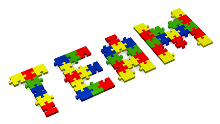 assembled: 3d team text assembled of multicolor puzzle pieces, perspective view Stock Photo
