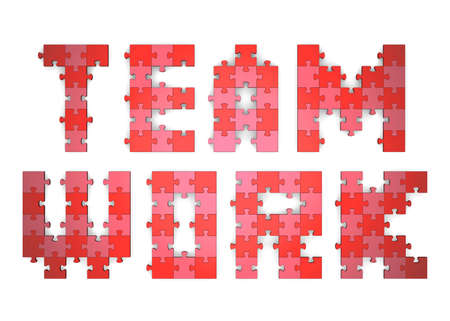 assembled: 3d teamwork text assembled of red and pink puzzle pieces Stock Photo