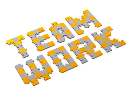 assembled: 3d teamwork text assembled of golden and grey puzzle pieces, perspective view Stock Photo