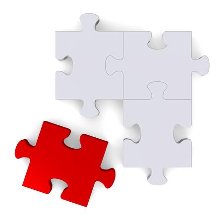 missing piece: Rompecabezas gris 3d con el pedazo que falta de color rojo aislado en blanco, vista desde arriba Foto de archivo