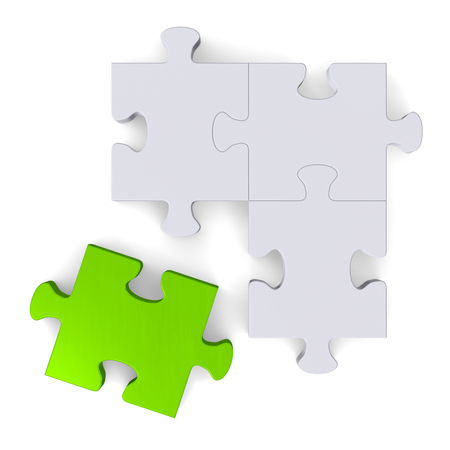 3d grey puzzle with green missing piece isolated on white, top view photo