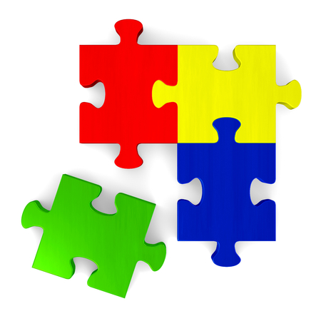 3d multicolor puzzle with green missing piece isolated on white, top view photo