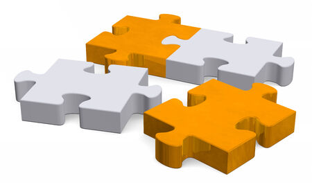 3d orange and grey puzzle with two missing pieces isolated on white, perspective view photo