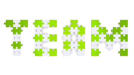 assembled: 3d team text assembled of green and grey puzzle pieces Stock Photo