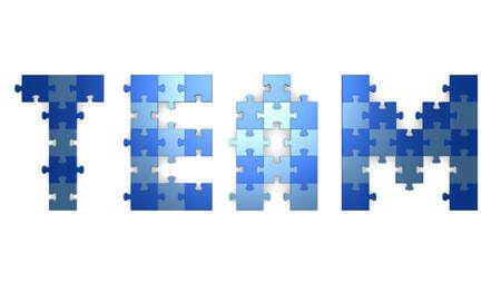 assembled: 3d team text assembled of blue puzzle pieces Stock Photo