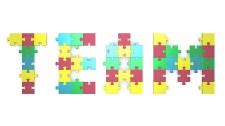 3d team text assembled of muted multicolor puzzle pieces photo