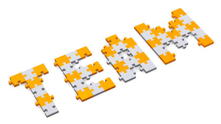 assembled: 3d team text assembled of orange and grey puzzle pieces, perspective view