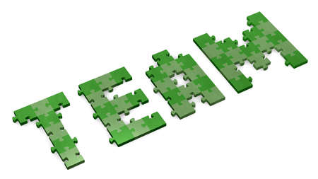 assembled: 3d team text assembled of green puzzle pieces, perspective view