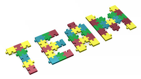 assembled: 3d team text assembled of muted multicolor puzzle pieces, perspective view