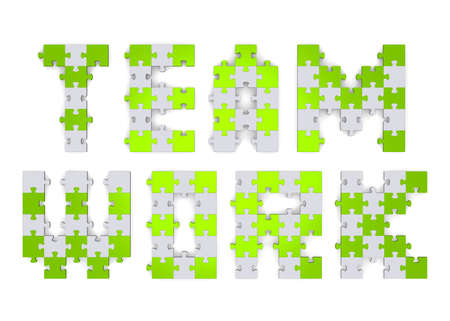 assembled: 3d teamwork text assembled of green and grey puzzle pieces