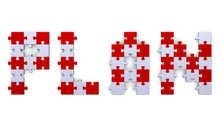 assembled: 3d plan text assembled of red and grey puzzle pieces Stock Photo