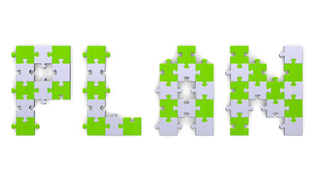 assembled: 3d plan text assembled of green and grey puzzle pieces Stock Photo