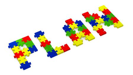 assembled: 3d plan text assembled of multicolor puzzle pieces, perspective view