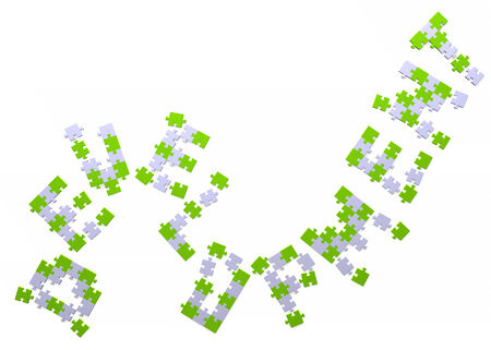 assembled: 3d development text assembled of green and grey puzzle pieces Stock Photo