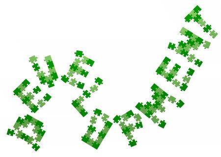 assembled: 3d development text assembled of green puzzle pieces