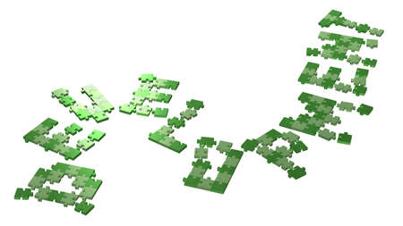 assembled: 3d development text assembled of green puzzle pieces, perspective view