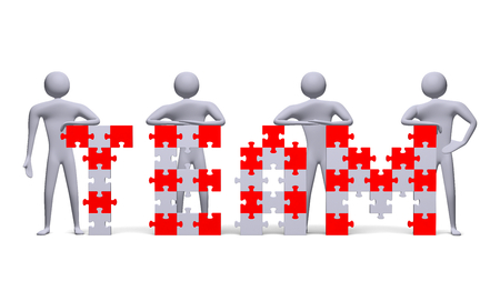 assembled: Four 3d people near team text assembled of red and grey puzzle pieces