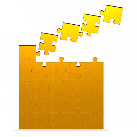 Big 3d golden puzzle with flying missing pieces standing isolated on white photo