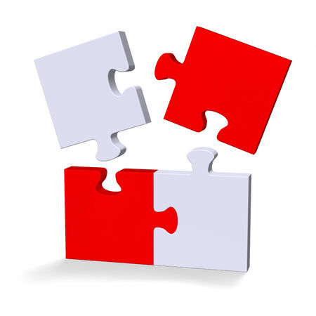 3d red and grey puzzle with flying missing pieces standing isolated on white photo